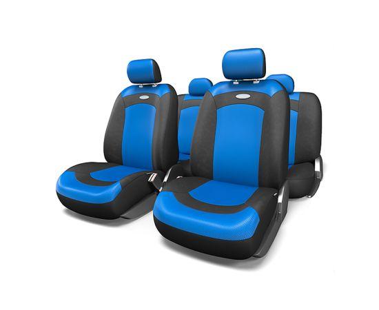Чехлы на сиденья AUTOPROFI универсальные 'EXTREME' велюр+сетч.ткань (черный/синий) (к-т 8пр) (M)